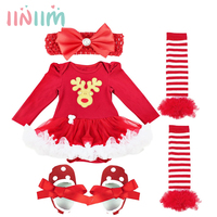 Baby Girl Clothes Xmas Baby Girl Dress 4pcs Infant Clothing Sets Santa Claus Romper Dress Jumpersuit