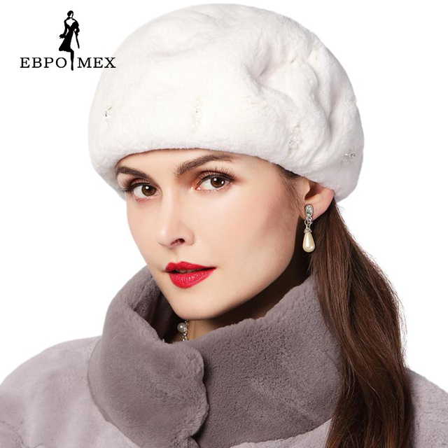 Women Winter Rabbit fur hat, fashion design, leather Rabbit, hat mosaic brick, Rex warm winter hats, fashionable women round cap