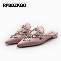 Rhinestone Retro Slippers Mules Satin Large Size Metal Slides Crystal Designer Shoes China Pink Women Pointed Toe 9 Fashion Drop