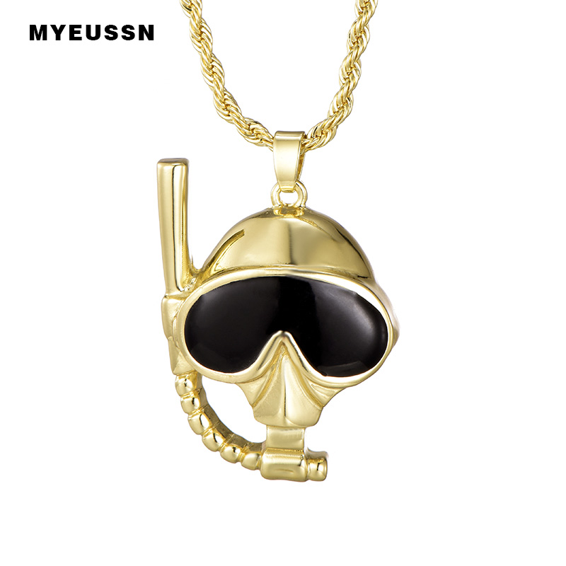 Scuba Diving Mask&Snorkel Skull Pendant With Long Chain Gold/Silver Fashion Charm Necklace&Pendant For Men Trendy Jewelry Gift