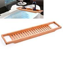 Bamboo Bathtub Rack Bath Tray Caddy Shelf Shower Tub Book Tray Holder Stand Bathroom Shelves Bathroom Storage Stand Tray Holder