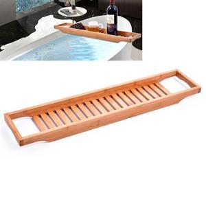 Bamboo Bathtub Rack Bath Tray Caddy Shelf Shower Tub Book Tray Holder Stand Bathroom Shelves Bathroom Storage Stand Tray Holder(China)