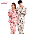 Anlisa Brand Clothing Women Pijamas Men Winter Cartoon Printing Couple Pajama Sets Sexy Male Pajamas Plus Size Sleepwear Men
