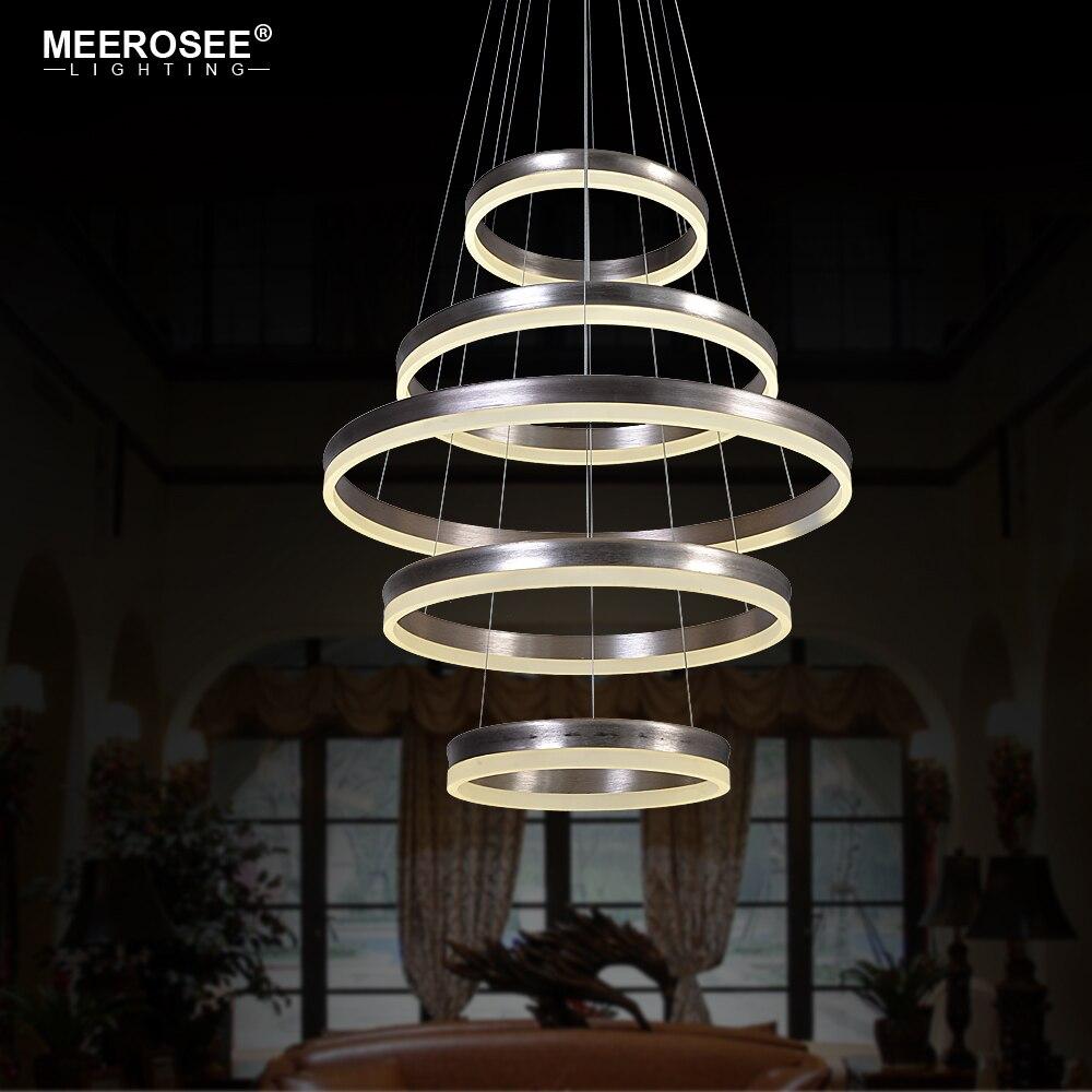 Modern Creative Pendant Light fixtures 5 Circle LED Rings Pendant Lighting Hanging Drop LED Lustre Home Luminaires Stair Lamp