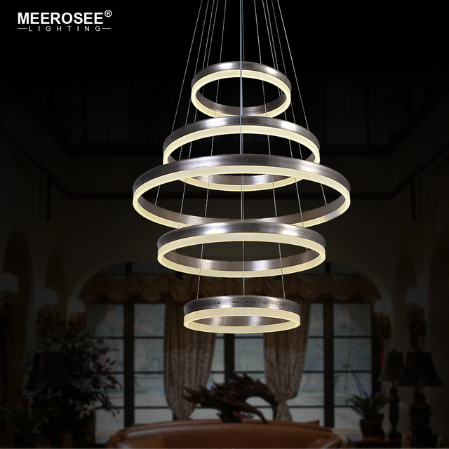 Lámparas colgantes creativas modernas con 5 anillos LED de círculo, iluminación colgante, lámpara LED Lustre para el hogar, lámpara de escalera