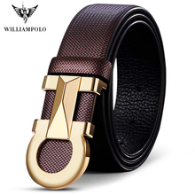 ويليابولو رجالي حزام جلد طبيعي التلقائي مشبك حزام العلامة التجارية الفاخرة رجالي حزام البنطال الجينز الأعمال عادية جلد البقر