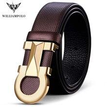WILLIAMPOLO Cinturón de cuero genuino para hombre, correa de hebilla automática, de marca de lujo, informal, de negocios, de piel de vaca
