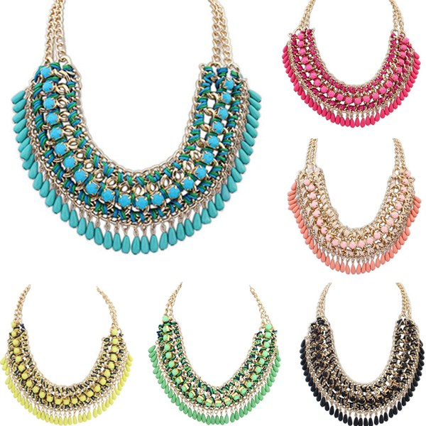 Sale Short Chain statement Necklace big statement colorful necklace Bohemian Exaggerated Beads