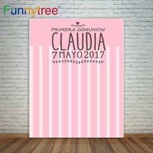 Funnytree Pink communion background girl first communion custom background stripes photocall a photo party cloths polyester