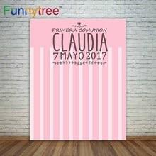 Funnytree 핑크 친교 배경 소녀 첫 성찬식 사용자 정의 배경 줄무늬 photocall 사진 파티 옷 폴리 에스터