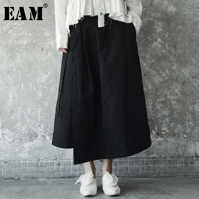 [EAM] 2019 New Spring Solid Color High Waist Black Side Bandage Loose Half-body Skirt Women Fashion  All-match JE81101