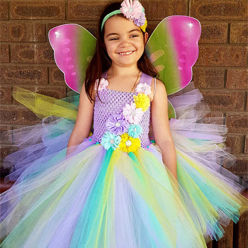 2c7b373f063 ... Rainbow Flower Fairy Tutu Dress With Wings Girls Tulle Princess Dress  Knee Length Kids Party Dresses ...