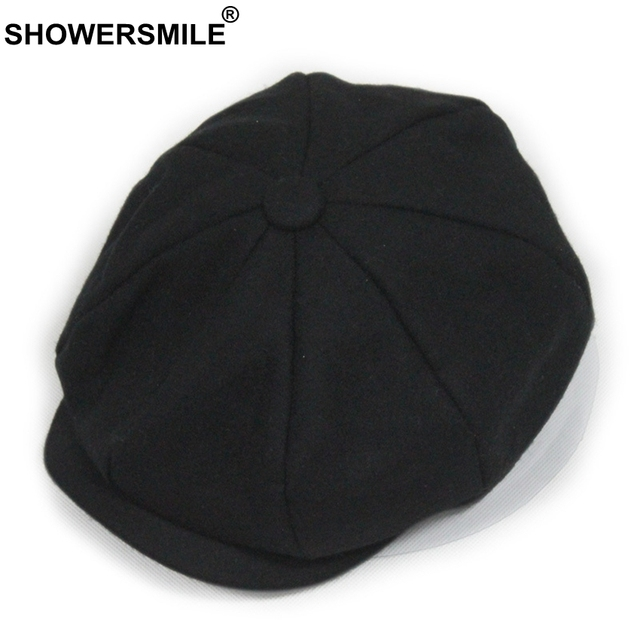 928bda110 US $10.25 53% OFF|SHOWERSMILE Black Grey Wool Hat Man Newsboy Caps  Herringbone Tweed Warm Winter Octagonal Hat Male Female Gatsby Retro Flat  Caps-in ...