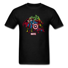 Comic Avengers 3 T-shirt Mannen Zwarte T-shirt Hulk Thor Spider Man Captain America T-shirt Cool Fashion Leagued Tee shirt Marvel(China)