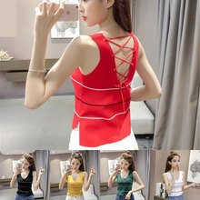 Women Summer Fashion Knitted Sleeveless V-Neck Strip Crop Top Ladies 2017 New Arrival Slim Short Cotton Tank Tops Camis Aneis