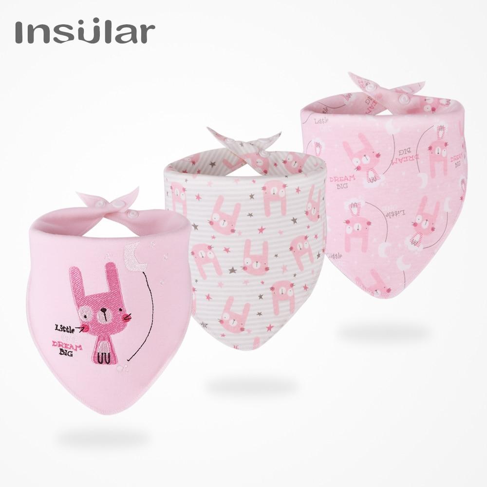 Insular 3pcs/set Baby Bibs Bandana 100% Cotton High Quality Babadores Para Bebe Infant Saliva Towel For Boys And Girls SU1006