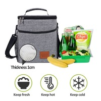 6L Double Decker Cooler Lunch Bags Insulated Solid Thermal Lunchbox Food Picnic Bag Cooler Tote Handbags for Men Women