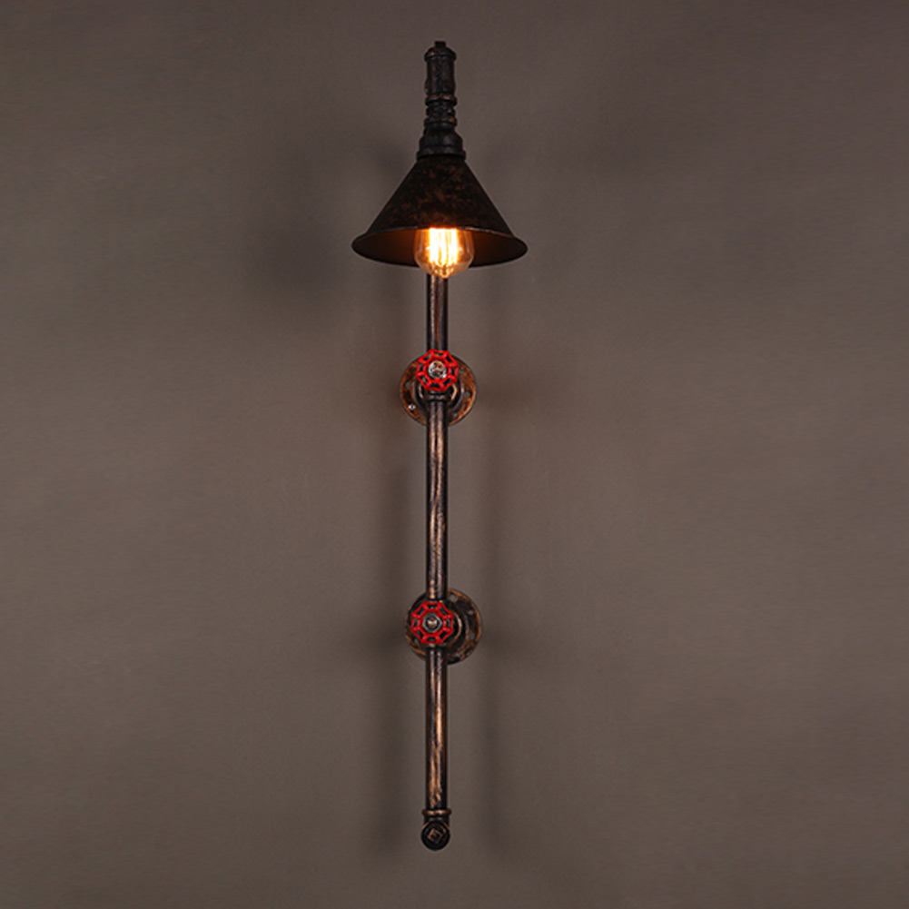 ФОТО Vintage Loft Water Pipe Wall Lamp   Rustic Loft Style e27 sconce lights for living room bedroom restaurant bar