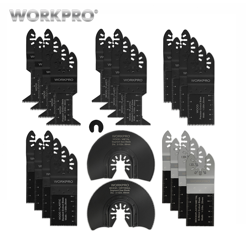 WORKPRO 22PC  Saw Blades Multi Oscillating Tool Accessories For Metal/wood Quick Release Saw Blades Set CRV Blades