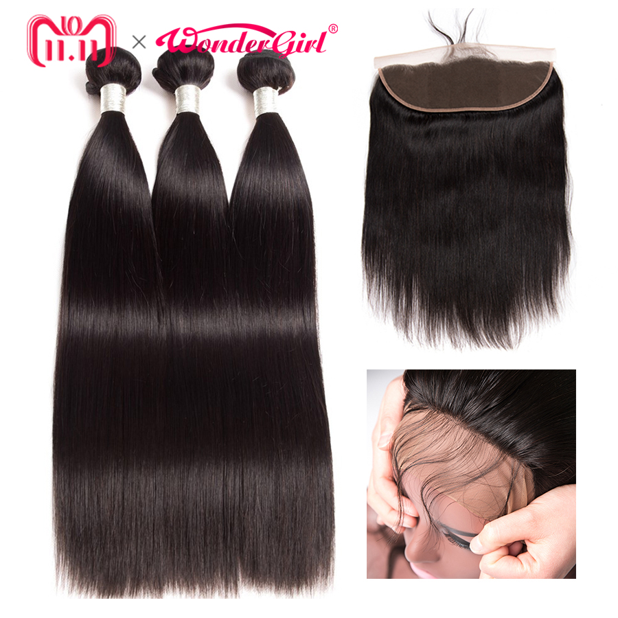 Peruvian Straight Hair 3 Bundles With Frontal Closure Human Hair Bundles With 13x4 Lace Frontal Closure