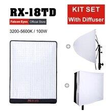ファルコンアイズ 100 ワットの写真撮影の照明ビデオカメラプロフェッショナル led ライト柔軟なポータブル美容ランプ RX 18TD とディフューザー