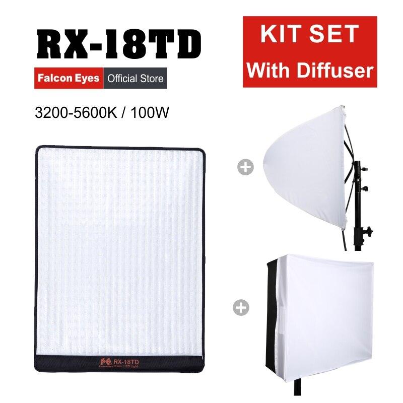 Falcon Eyes 100W pour caméra vidéo LED Fotografia lumière professionnelle Flexible éclairage Portable lampe de beauté RX-18TD avec diffuseur