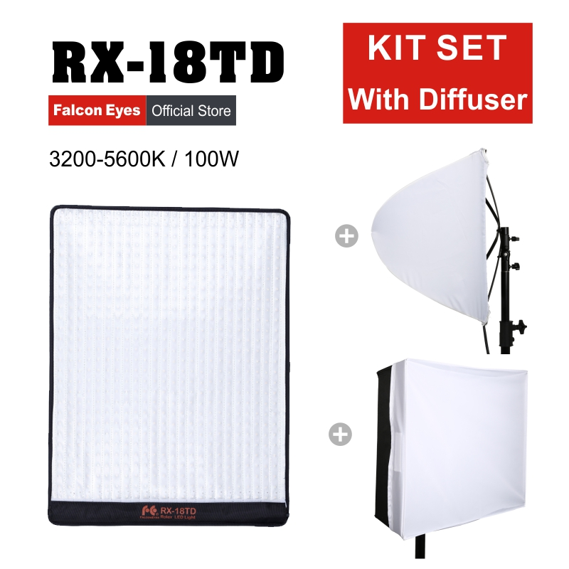 Ojos Falcon 100 W para cámara de vídeo LED Fotografia Profesional Flexible de la luz de iluminación portátil belleza lámpara RX-18TD con difusor