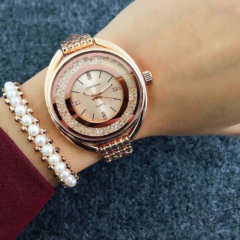 Топ Contena часы женские часы браслет из розового золота роскошные стразы женские часы Saat Montre Femme Relogio Feminino