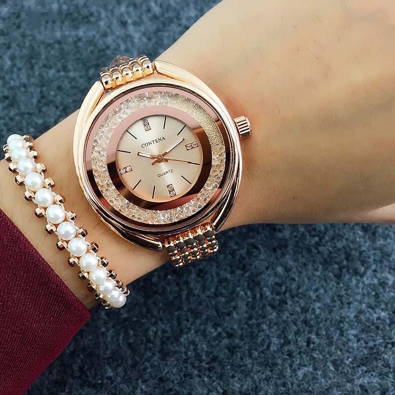 все цены на Top Brand CONTENA Watch Women Watches Rose Gold Bracelet Watch Luxury Rhinestone Ladies Watch saat montre femme relogio feminino