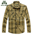 Men's Casual Brand Plaid Long Sleeve Shirts Plus Size 5XL 2016 AFS JEEP European 100% Cotton Soft Loose Man Clothes