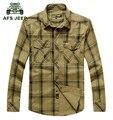 Men ' s Casual marca Plaid camisetas de manga larga más el tamaño 5XL 2016 AFS JEEP europeo 100% algodón suave floja hombre ropa