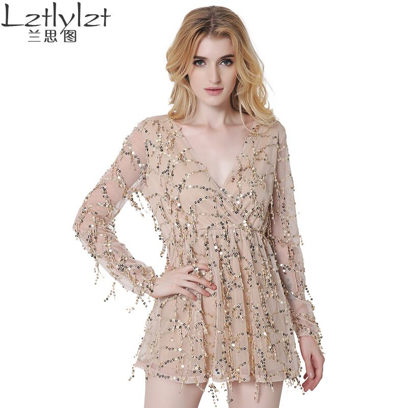 Buy Cheap Lztlylzt Sexy Sequin Tassel Summer Dresses Women Beach Party Short Dress V neck long sleeve Vintage Elegant A-line Dress