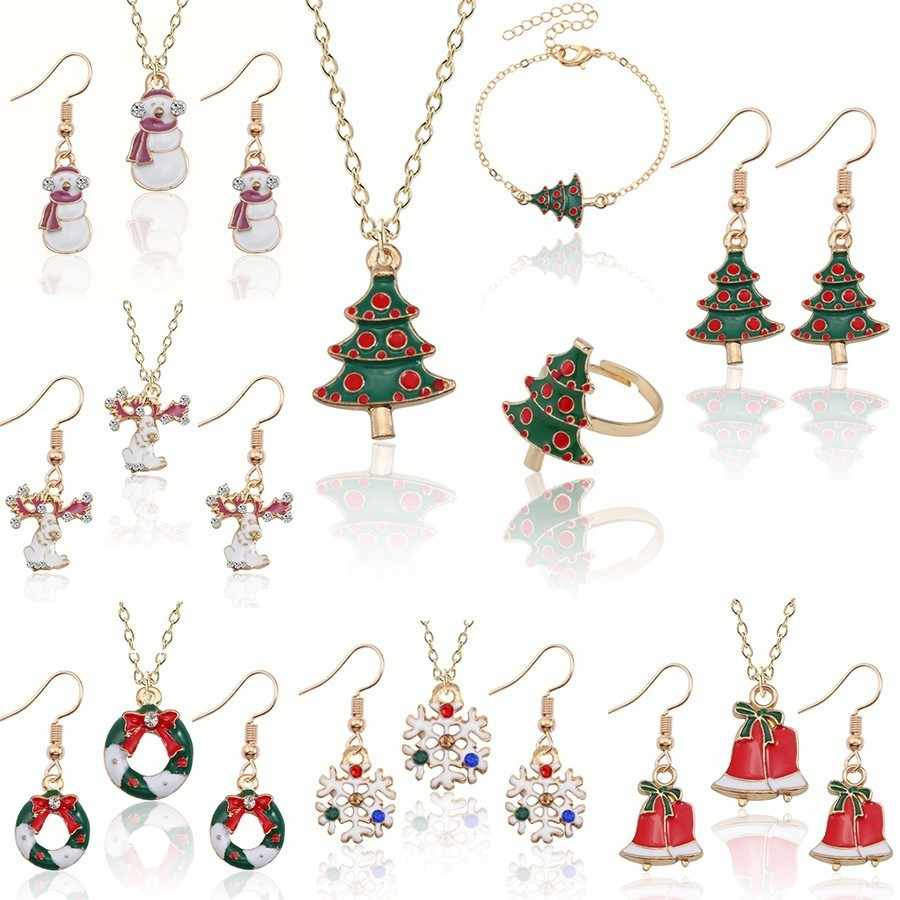Christmas Jewelry Sets Santa Claus Xmas Tree Wreath Bells Boots Gifts Box Snowman snowflake Elk Necklace Earrings Jewellery Set