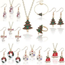 Christmas Jewelry Sets Santa Claus Xmas Tree Wreath Bells Boots Gifts Box Snowman snowflake Elk Neck