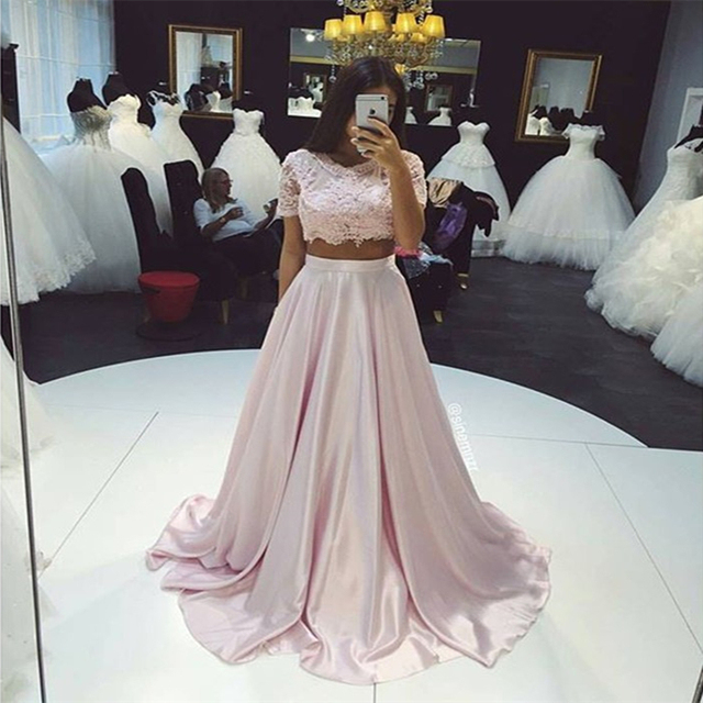 3a6cab52ea Evening Dress Kaftan 2 Pieces Pink Long Lace Bodice Satin Crop Top Short  Sleeve Dubai Prom Party robe De soiree Dresses