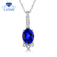Natural Tanzanite Pendant Necklace Oval Natural Gem 18K White Gold Diamond Pendants Luxury Fine Jewelry for Women