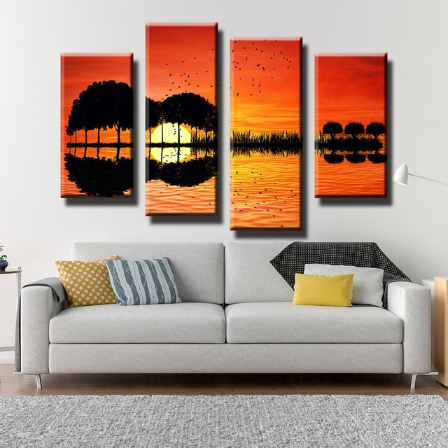 4 Pieces/set Canvas Print SCENIC GUITAR SUNSET Wall Art Picture ...