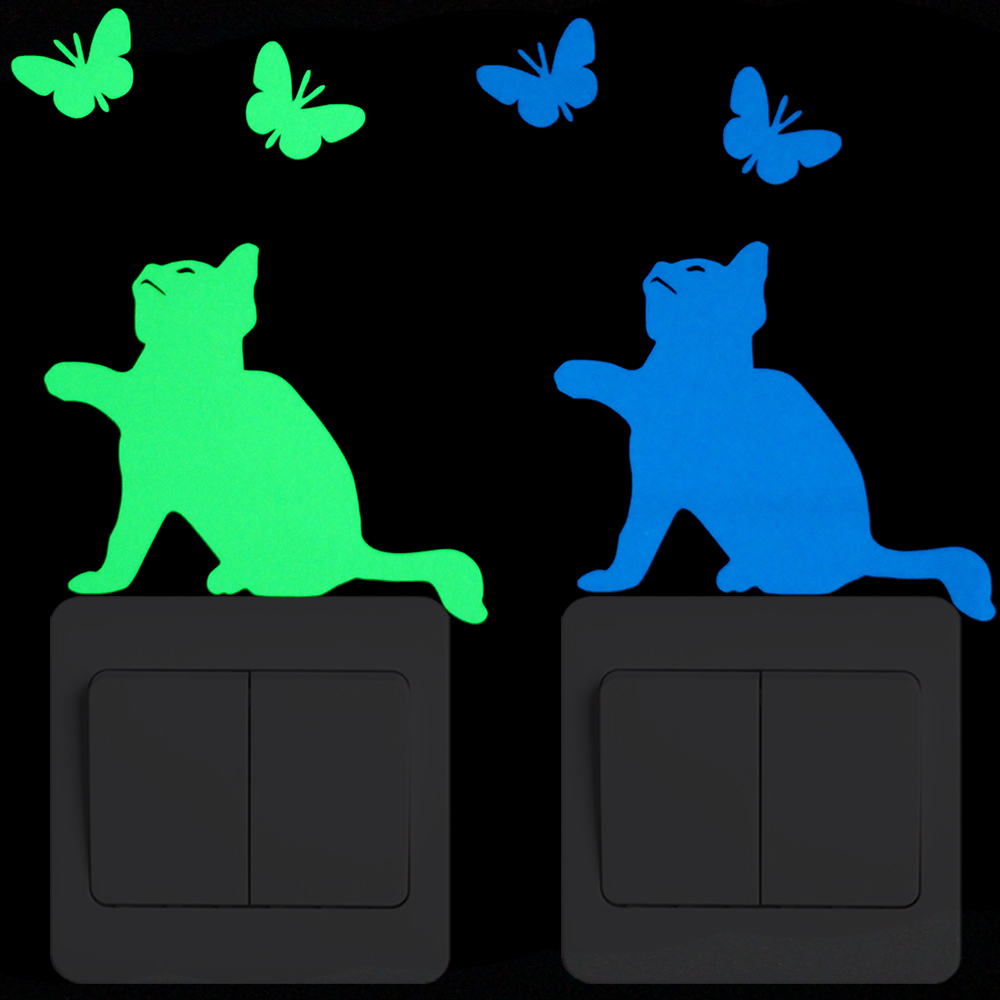 Cat Catch Butterfly Luminous Switch Sticker Child Boy Girl Bedroom DIY Personalized Decoration Wall Sticker Cartoon Animal Decal