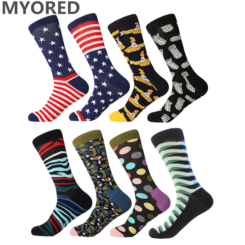 MYORED Crew Socks Funny Gift Cool Colorful Cotton Men Fashion Man for Calcetines-De-Hombre