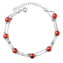 Everoyal Lady Silver 925 Bracelets For Girl Birthday Party Accessories Fashion Crystal Red Ball Bracelet Women Jewelry Vintage