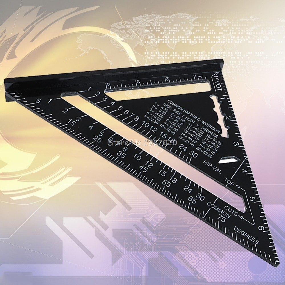 7inch Metric System Silver Aluminum Alloy Speed Square Roofing Triangle Angle Protractor Try Square Carpenter's Measuring