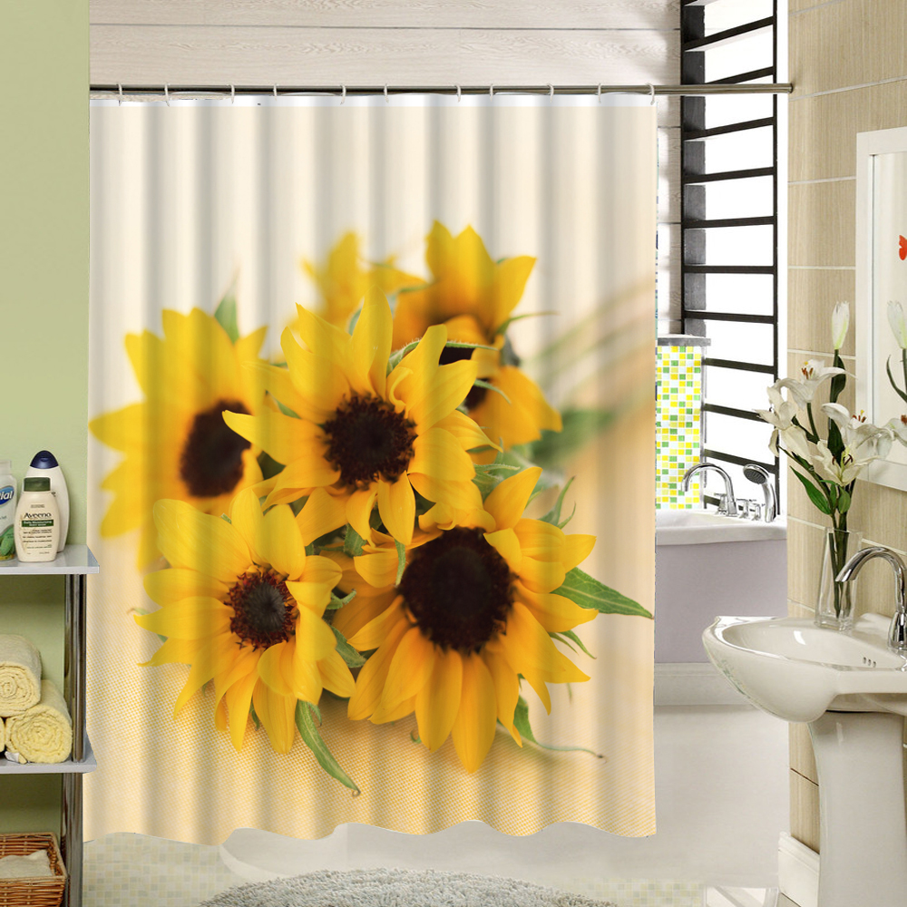 3d Polyester Waterproof Sunflower Shower Curtain Yellow Scenic Print Floral  Fabric Washable Window Curtain Washable Bath Product - Sunflower Shower Curtain Promotion-Shop For Promotional Sunflower