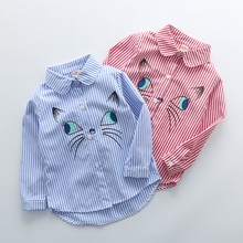 Новые модные детские топы для мальчиков и девочек, одежда с длинными рукавами, рубашки с отворотами и вышивкой, милая одежда для малышей
