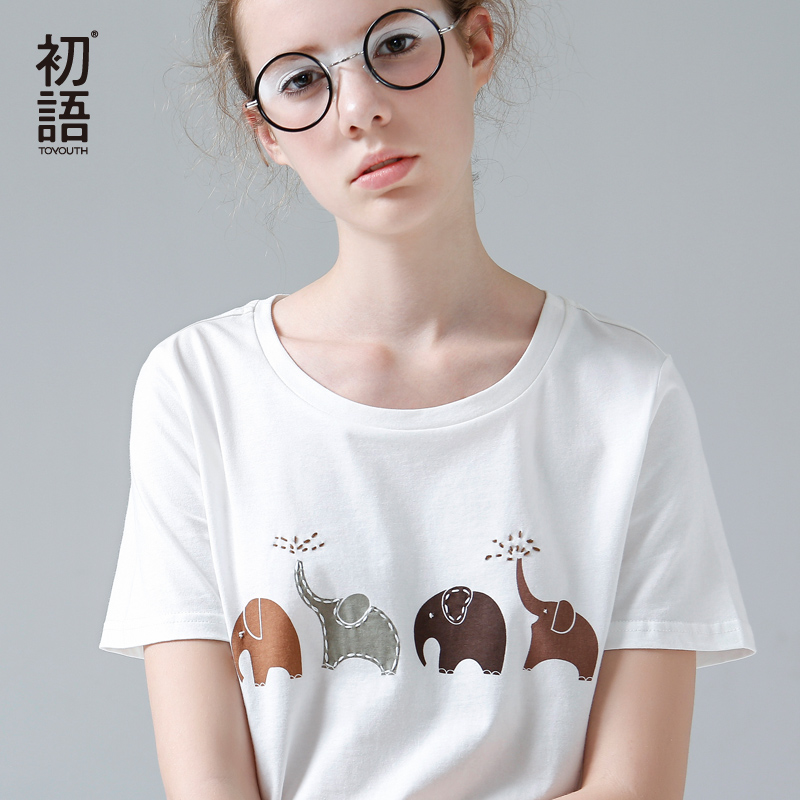 Toyouth Funny Elephant Print T Shirt Women Summer Animal Short Sleeve Tshirts Harajuku Tees For Women White O-Neck Casual Tops