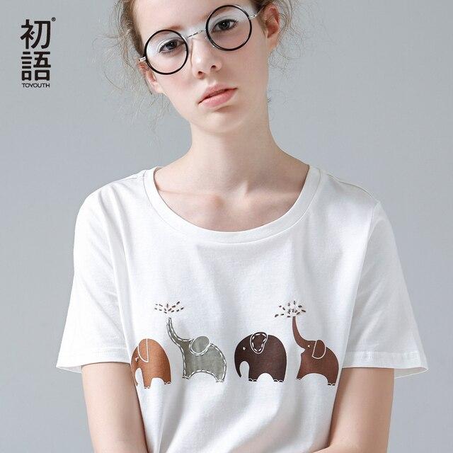 Toyouth забавная Футболка с принтом слона женские летние футболки с коротким рукавом с животными Harajuku футболки для женщин белые повседневные топы с круглым вырезом