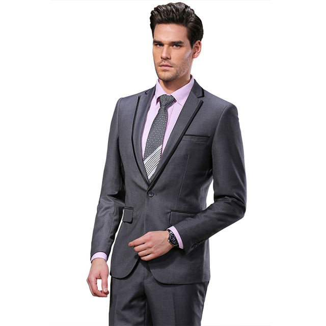 2016 DAROuomo Hombres Trajes Delgado Tuxedo Custom Fit Vestido de traje Gris y Pantalones de Marca de Moda de Negocios Trajes de Boda DR8618-3