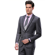 2017 DARO Men Suits Slim Custom Fit Tuxedo Gray suit and Pants Brand Fashion Business Dress Wedding Suits DR8618-3