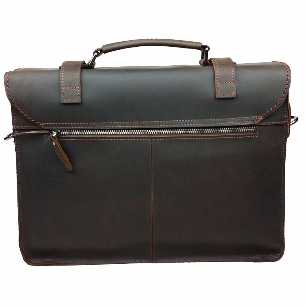 Retro Crazy Horse Genuine Leather Classic Mens Briefcase Handbag Cossbody Shoulder Business Laptop Notebook Messenger Bags