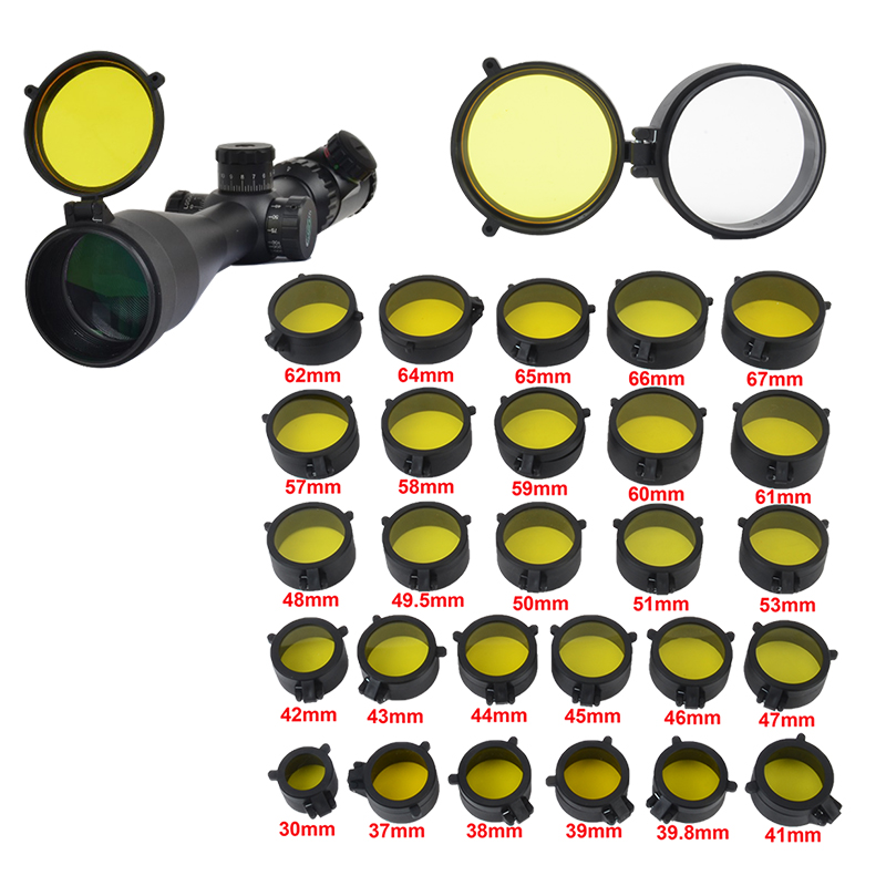 Rifle Scope Quick See Thru Flip Spring Up Amber Lens Cover Open Riflescope Eye Protect Objective Hunting Paintball Accessories