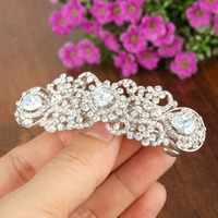 BELLA Fashion Bridal Water Drop Hair Comb Clip Luxury CZ Zircon Barrette Head Piece For Wedding Hair Piece Bridesmaid Jewelry